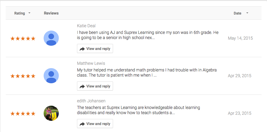 Tutoring Reviews